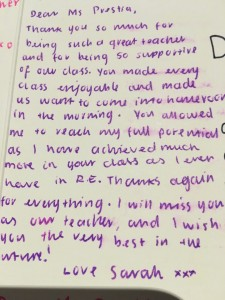 Thank you message from a student