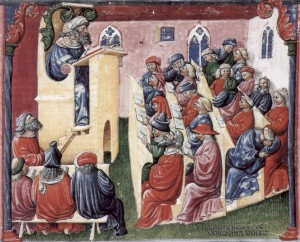 University of Bologna by Laurentius de Voltolina c.1350